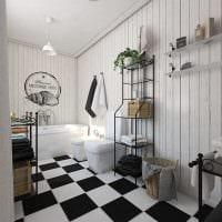 идея красивого дизайна ванной в черно-белых тонах фото