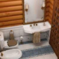 идея красивого дизайна ванной в деревянном доме картинка