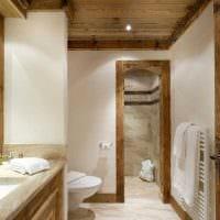 вариант современного дизайна ванной комнаты в деревянном доме фото