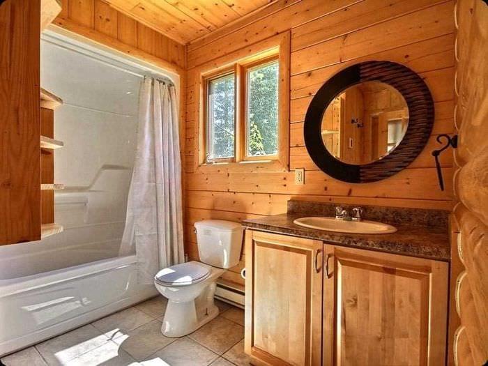 идея современного дизайна ванной комнаты в деревянном доме