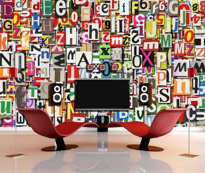 вариант использования декоративных букв в дизайне помещения