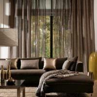 вариант сочетания насыщенного коричневого цвета в интерьере гостиной картинка