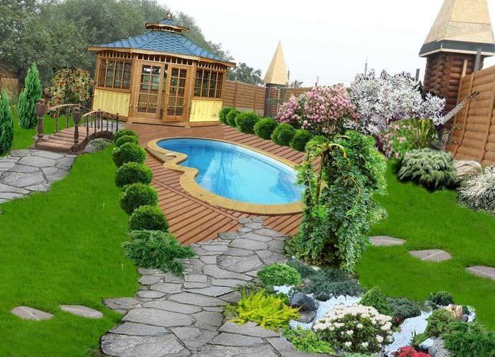 идея современного украшения двора частного дома