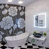 вариант необычного стиля ванной комнаты в черно-белых тонах картинка