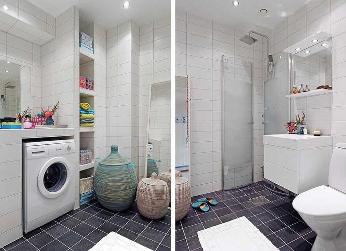 вариант яркого интерьера ванной 6 кв.м