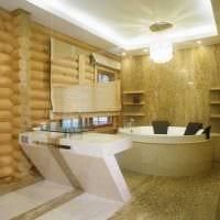идея яркого интерьера ванной комнаты в деревянном доме картинка