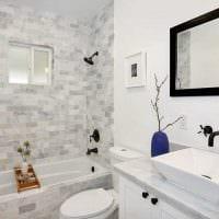 вариант современного дизайна ванной в черно-белых тонах картинка
