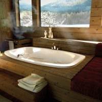 вариант современного интерьера ванной комнаты в деревянном доме фото