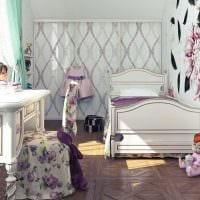 вариант светлого дизайна детской комнаты для девочки фото