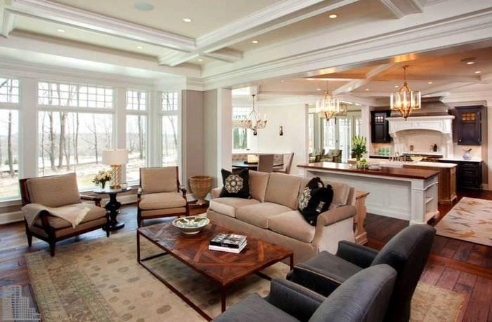 идея яркого дизайна зала в частном доме