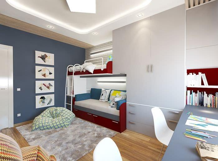 Детская комната для двоих детей 17 кв м дизайн фото