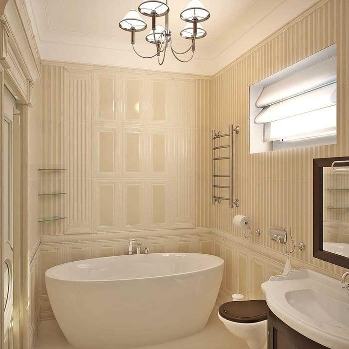 идея необычного интерьера ванной комнаты в классическом стиле