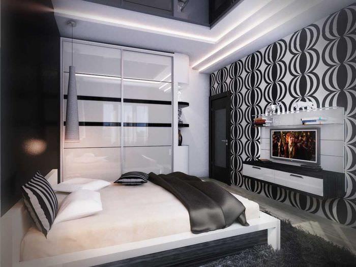 вариант современного стиля спальни в белом цвете