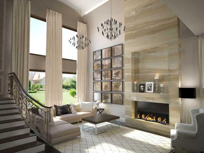 идея современного дизайна квартиры со вторым светом