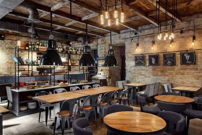 идея светлого стиля ресторана в стиле лофт
