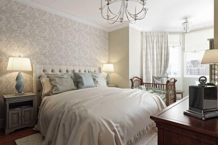 вариант необычного дизайна спальни в белом цвете
