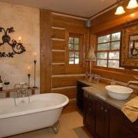 идея красивого стиля ванной в деревянном доме картинка