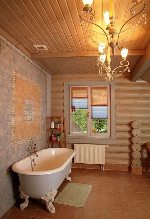 идея красивого стиля ванной комнаты в деревянном доме