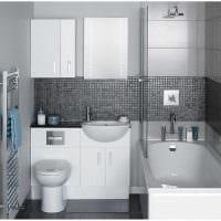 вариант необычного стиля ванной в черно-белых тонах картинка