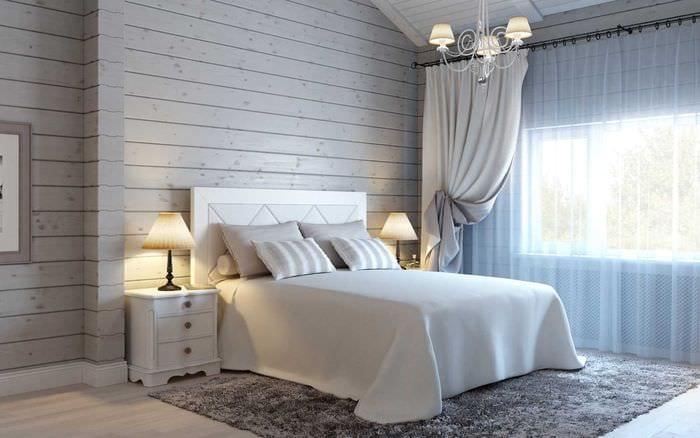 идея красивого интерьера белой спальни