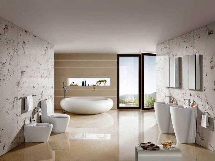 вариант современного интерьера ванной комнаты 2017