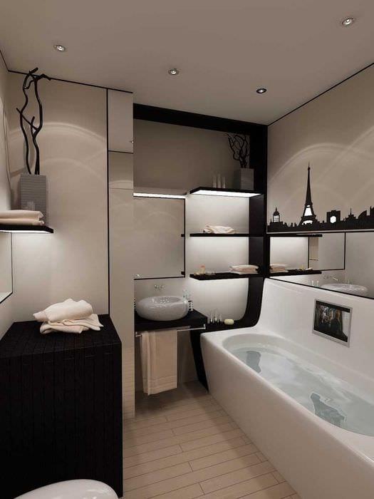 вариант необычного стиля ванной 4 кв.м