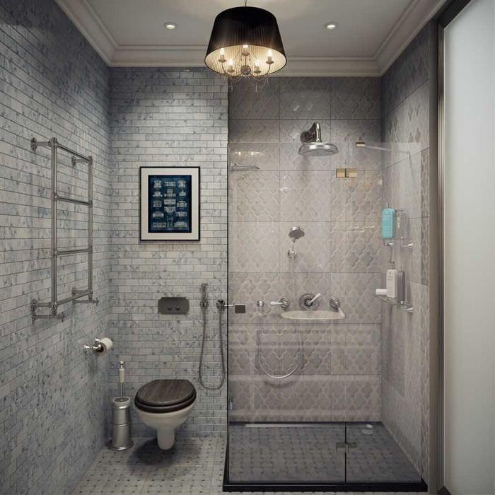 идея яркого интерьера ванной комнаты 6 кв.м