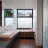 идея яркого дизайна ванной с окном фото