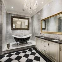 вариант яркого стиля ванной комнаты в черно-белых тонах картинка