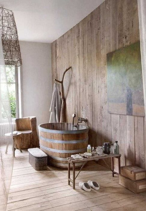 вариант современного стиля ванной в деревянном доме