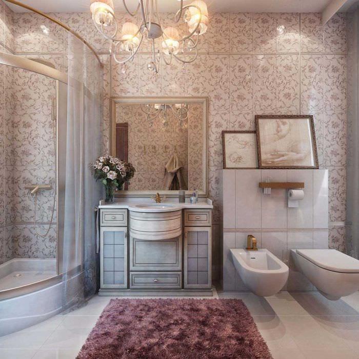 идея яркого стиля ванной комнаты в классическом стиле