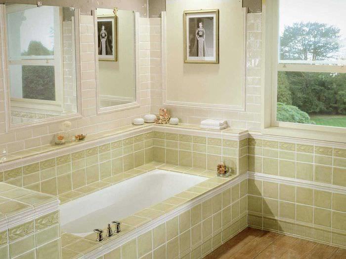 идея современного интерьера ванной комнаты с окном