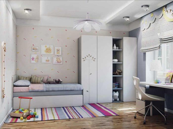 вариант необычного дизайна комнаты в светлых тонах в современном стиле