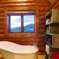 вариант необычного интерьера ванной комнаты в деревянном доме фото