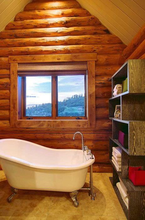 Фото дизайна ванных комнат в деревянном доме