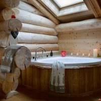 идея яркого дизайна ванной в деревянном доме картинка