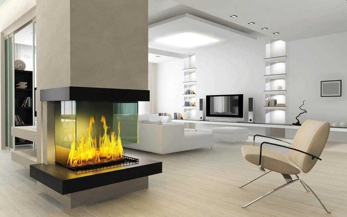 Modern Rustikale Wohnzimmer Mit Kamin