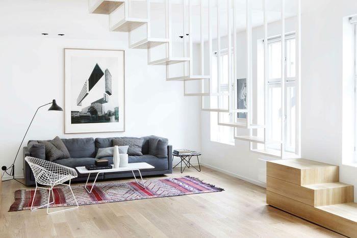 пример красивого интерьера гостиной в стиле минимализм