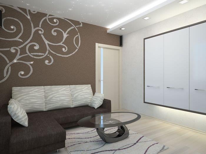 пример яркого интерьера гостиной 16 кв.м