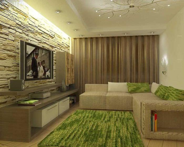 пример яркого дизайна гостиной 19-20 кв.м