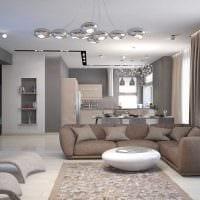 вариант необычного интерьера гостиной комнаты в стиле минимализм картинка