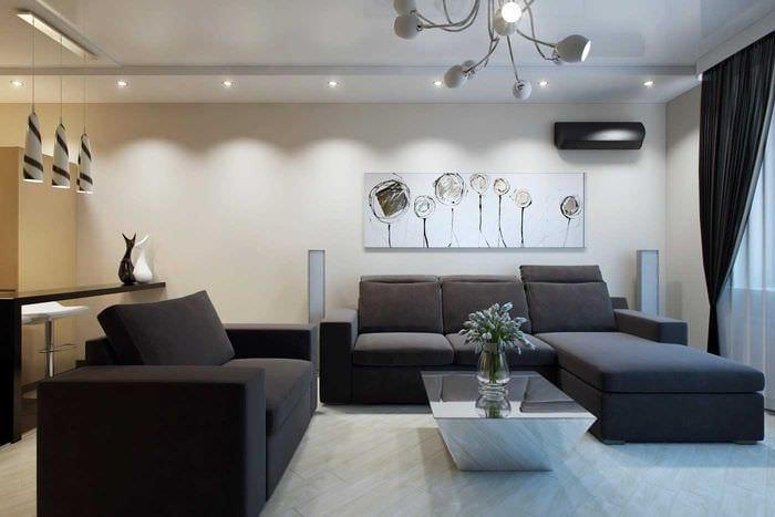вариант светлого декора современной квартиры 70 кв.м