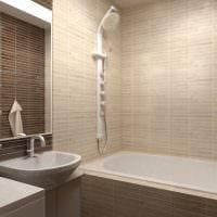 пример красивого дизайна ванной комнаты в бежевом цвете картинка