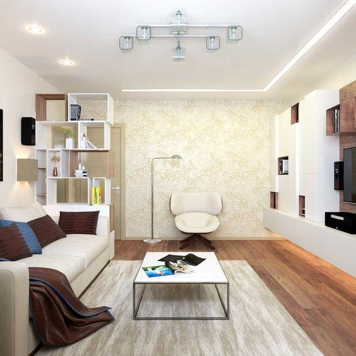 вариант светлого дизайна гостиной 16 кв.м