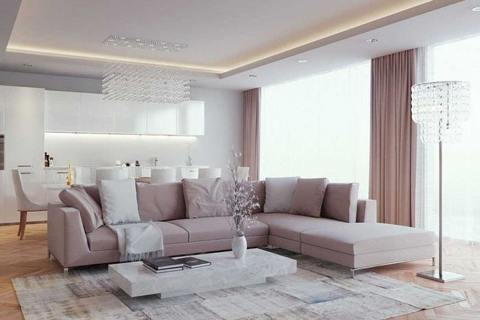 пример необычного интерьера гостиной комнаты 2018