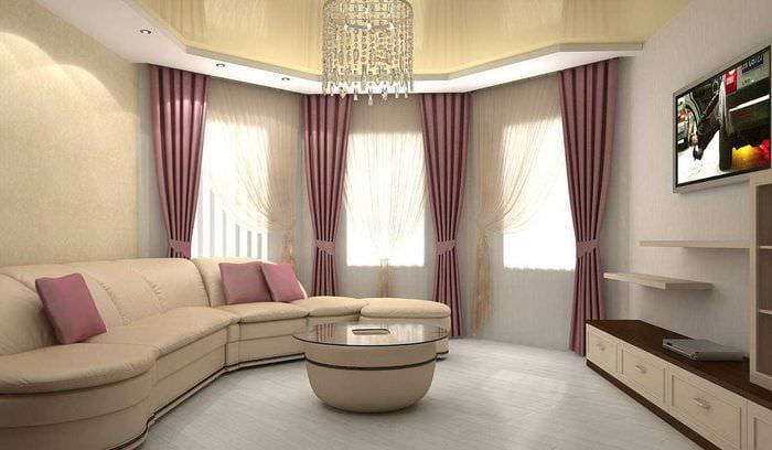 вариант светлого декора гостиной комнаты с эркером