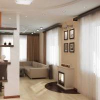 вариант необычного декора гостиной комнаты с камином фото