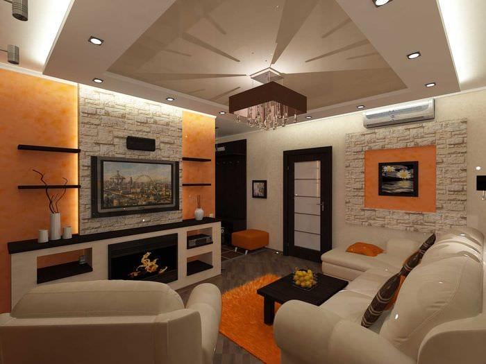 вариант необычного интерьера квартиры 50 кв.м