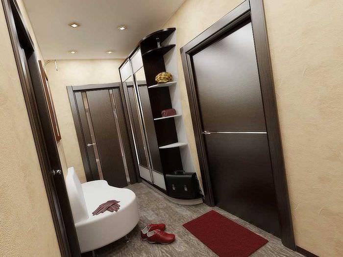 вариант яркого дизайна современной квартиры 70 кв.м