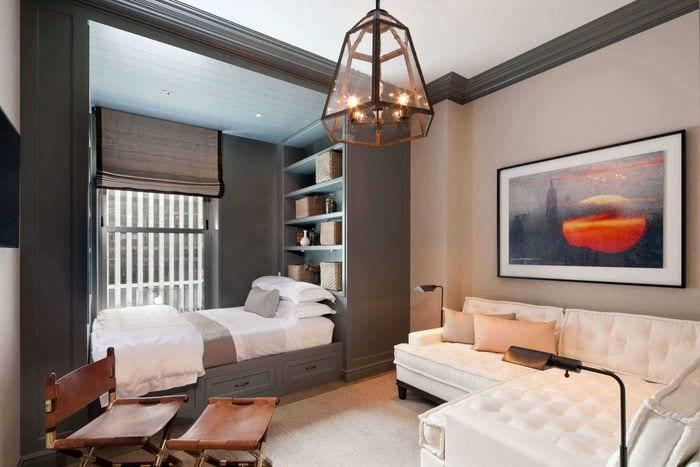 пример необычного дизайна гостиной комнаты 25 кв.м